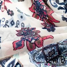 Crêpe Voile Polyester Motif Carreaux de Ciment Bleu Corail Ocre fond Ecru