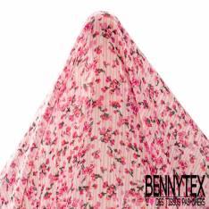 Crêpe Voile Polyester Motif Petite Fleur Rose sur Rayure Verticale Blanc Rose