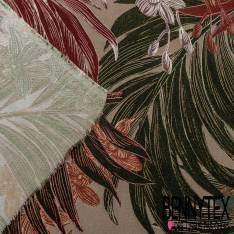 Fibranne Viscose Imprimé Grande Feuille Tropicale Prune Moutarde fond Kaki
