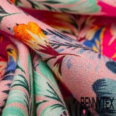 Crêpe Viscose Fluide Motif Feuille de Bananier Multicolore fond Rose Malabar