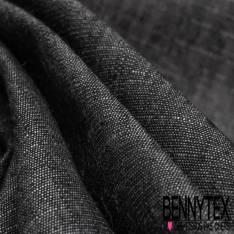 Toile Lin Polyester Effet Chiné Noir façon Denim