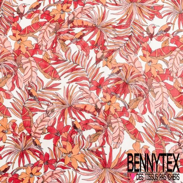 Crêpe Voile Polyester Motif Petite Fleur Tropicale Rouge Orange fond Blanc