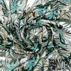 Crêpe Voile Polyester Motif Petite Fleur Tropicale Vert Emeraude Bouteille Mastique fond Blanc