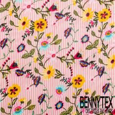 Mousseline Voile Polyester Motif Fleur Folklorique Rayure Verticale Rose Ecru