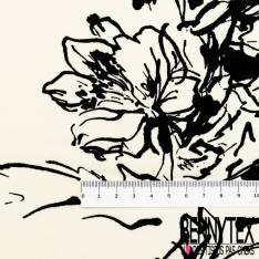 Crêpe Voile Polyester Motif Dessin esquisse Fleur fond Crème