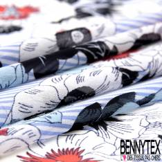 Crêpe Voile Polyester Motif Fleur fond Rayure Verticale Ciel Ecru