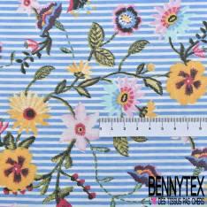 Mousseline Voile Polyester Motif Fleur Folklorique Rayure Verticale Bleu Ecru