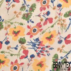 Crêpe Voile Polyester Motif Petites Fleurs Estivales fond Fine Rayure Verticale Jaune Or Ecru