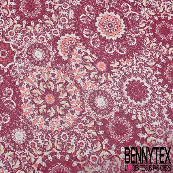 Crêpe Voile Polyester Motif Couple de Colombe de l'Amour fond Mandala Rouge Bordeaux