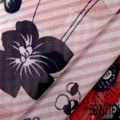 Crêpe Voile Polyester Motif Fleur fond Rayure Verticale Rose Ecru