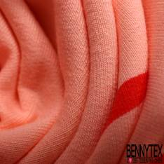 Jersey Coton Polyester Imprimé Grande Hirondelle Corail fond Saumon