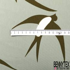 Jersey Coton Polyester Imprimé Grande Hirondelle Kaki fond Tilleul