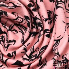 Jersey Coton Imprimé Cheval Noir fond Rose