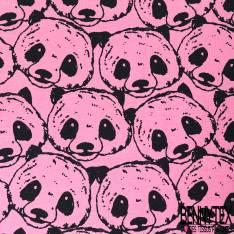 Jersey Coton Imprimé Tête de panda Noir fond Rose
