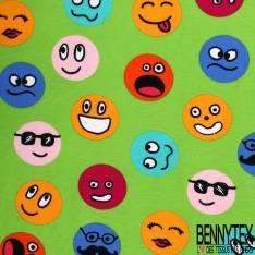 Jersey Coton Imprimé Emoticône Multicolore fond Vert Pomme