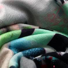 Jersey Viscose Imprimé Motif Abstrait Multicolore
