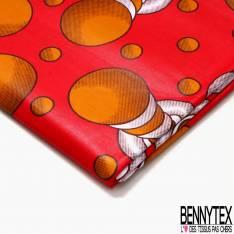 Wax Africain N° 469: Motif Boule Effet 3D fond Rouge