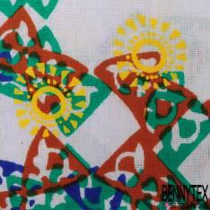Wax Africain N° 500: Motif Empreinte de Petit Noeud Camel Jade Bleu Jaune fond Ecru