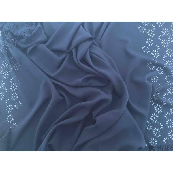 Polyester Bleu Marine Perforé fleurs