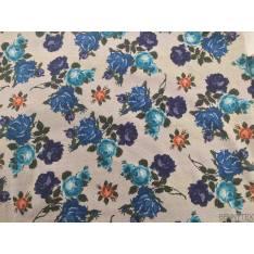 Satin de Coton Fond Beige Blanc Fleurs Bleu Indigo Orange