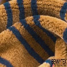 Jersey Bébé Velours Eponge Rayure Ocre Marine Grande Laize