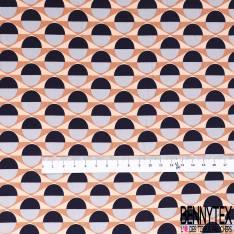 Fibranne Viscose Imprimé Géométrique Seventies Marine Gris Perle Camel