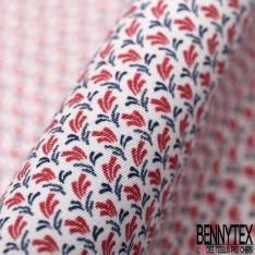 Coton Imprimé Petit Motif Abstrait Rouge Marine fond Blanc