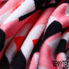 Panneau Jersey Viscose Imprimé Triple Bande Fantaisie Noir Corail Rose blanc