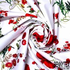 Coton Satin Elasthanne Simple Base Imprimé Coquelicot fond Blanc
