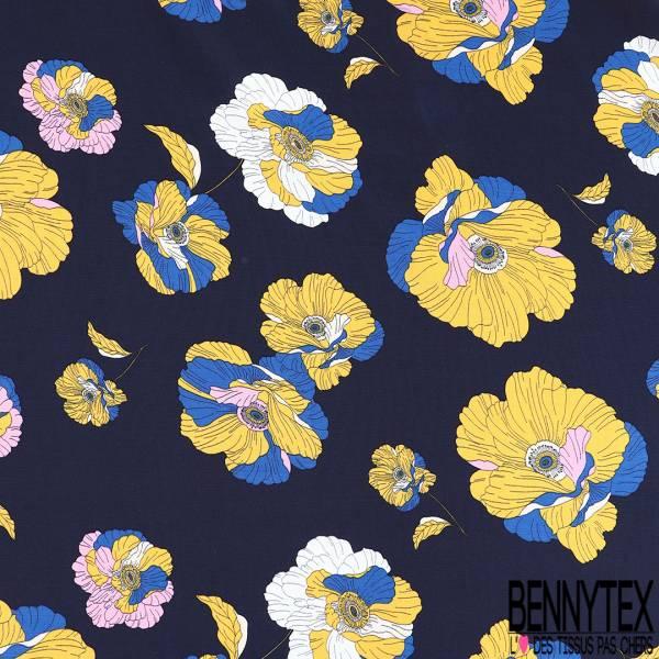 Crêpe Viscose Fluide Motif Fleur de Pavot Jaune Rose Blanc bleu fond Bleu Nuit