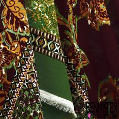Crêpe Polyester Double Base Esprit Cachemire Ethnique fond Lie de Vin
