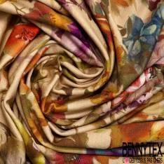 Gabardine Coton Sergé Souple Elasthanne Grande Fleur Style Papier Peint fond Sable