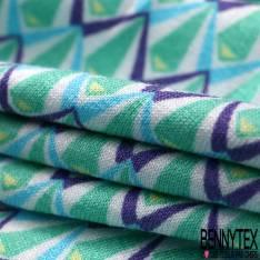 Jersey Viscose Imprimé Petit Motif Géométrique Violet Vert Bleu Blanc