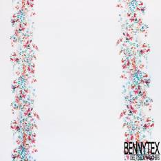 Coton Satin Elasthanne Motif Bande Centrale Verticale Fleur des Champs fond Blanc