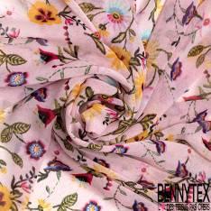 Mousseline Voile Polyester Motif Fleur fond Effet Jean Bleu Clair