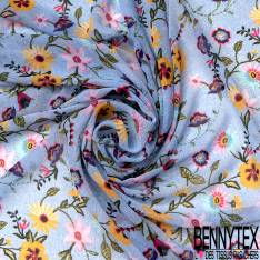 Mousseline Voile Polyester Motif Fleur fond Effet Rose Clair