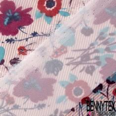 Mousseline Voile Polyester Motif Fleur fond Rayure fine Verticales Rose Poudré Ecru