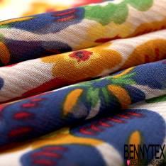Mousseline Voile Polyester Motif Fleur Multicolore fond Rayure Beige Ecru Verticale