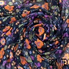 Mousseline Voile Polyester Motif Fleur Multicolore fond Rayure Bleu Noir