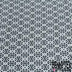 Crêpe Polyester Imprimé Petit Motif Géométrique Marine Noir fond Blanc Cassé