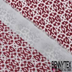 Crêpe Polyester Imprimé Petit Motif Géométrique Rouge Bordeaux fond Blanc Cassé