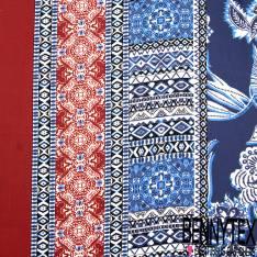 Crêpe Polyester Double Base Imprimé Grand Motif Cachemire Bleu Bordeaux