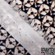 Crêpe Polyester Imprimé Petit Motif Rond Géométrique Bleu Nuit Ocre fond Blanc Cassé