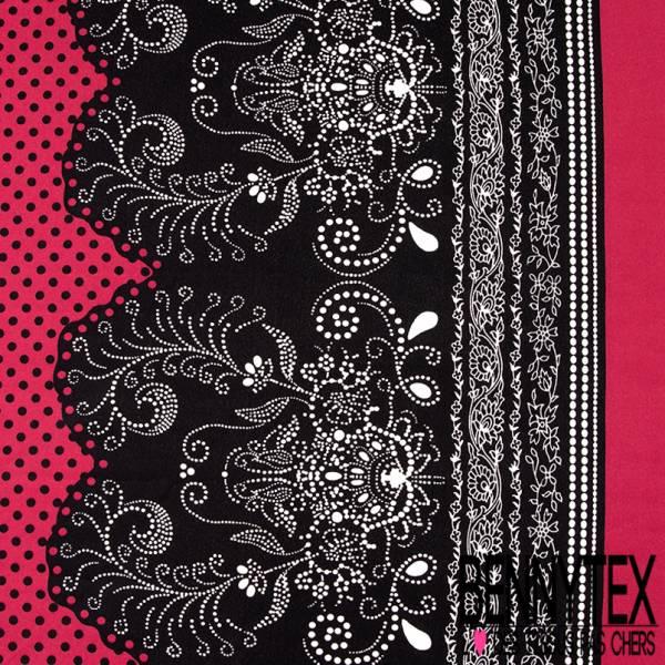 Crêpe Polyester Simple Base Pois Noir fond Framboise Poudré