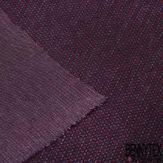 Maille Viscose Polyester Coton Motif Cravate Blanc Ocre fond Noir