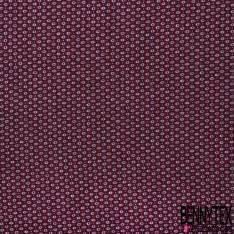 Maille Viscose Polyester Coton Motif Cravate Pixel Blanc Bordeaux Gris Noir