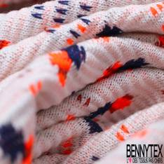 Maille Viscose Polyester Coton Motif Petit Carré Orange Fluo Marine fond Vague Ecru