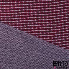 Maille Viscose Polyester Coton Motif Rayure Fantaisie Verticale Noir Bordeaux Gris