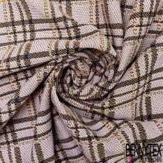 Maille Viscose Polyester Coton Motif Carreaux Tartan Moutarde