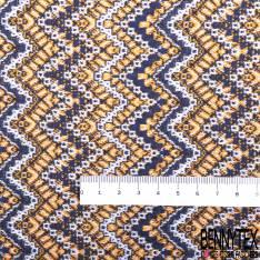 Maille Viscose Polyester Coton Motif Vague Géométrique Moutarde Blanc Marine